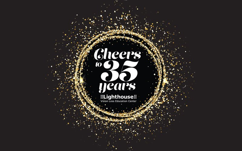 cheers to 35 years event logo with gold glitter circle on black background