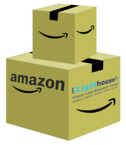 a large box with the amazon and lighthouse logo with a smaller box with the amazon smile on top of it