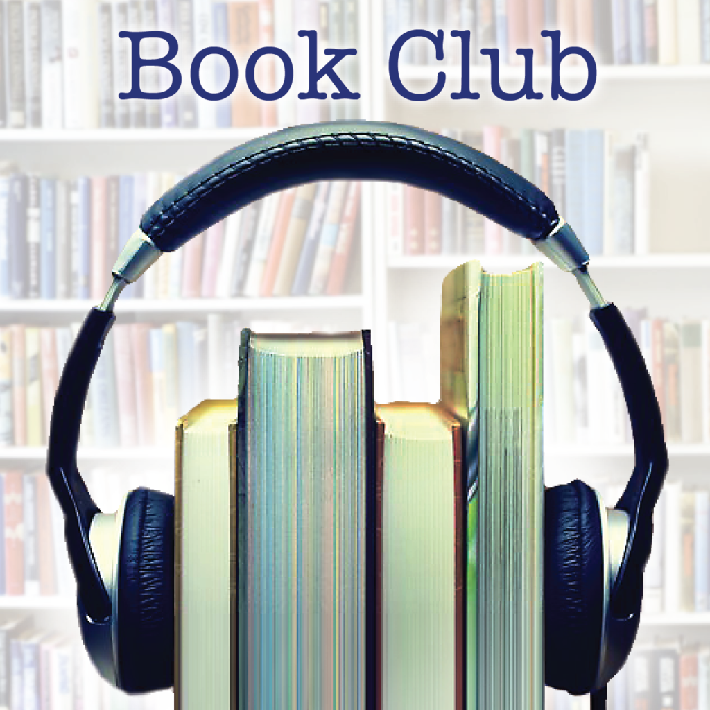 four books with headphones and bookshelf in the background