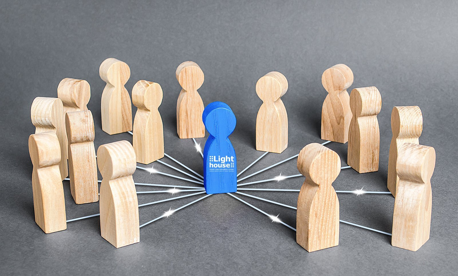 The blue person is connected with employees by wide network of lines. At the center of a complex large system. Communication social. Cooperation, collaboration. Corporate Partnerships