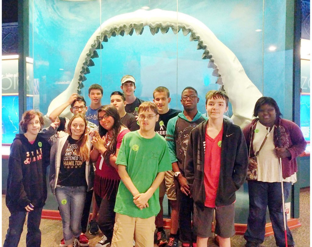 group-of-students-at jaws-exhibit-south-florida-museum