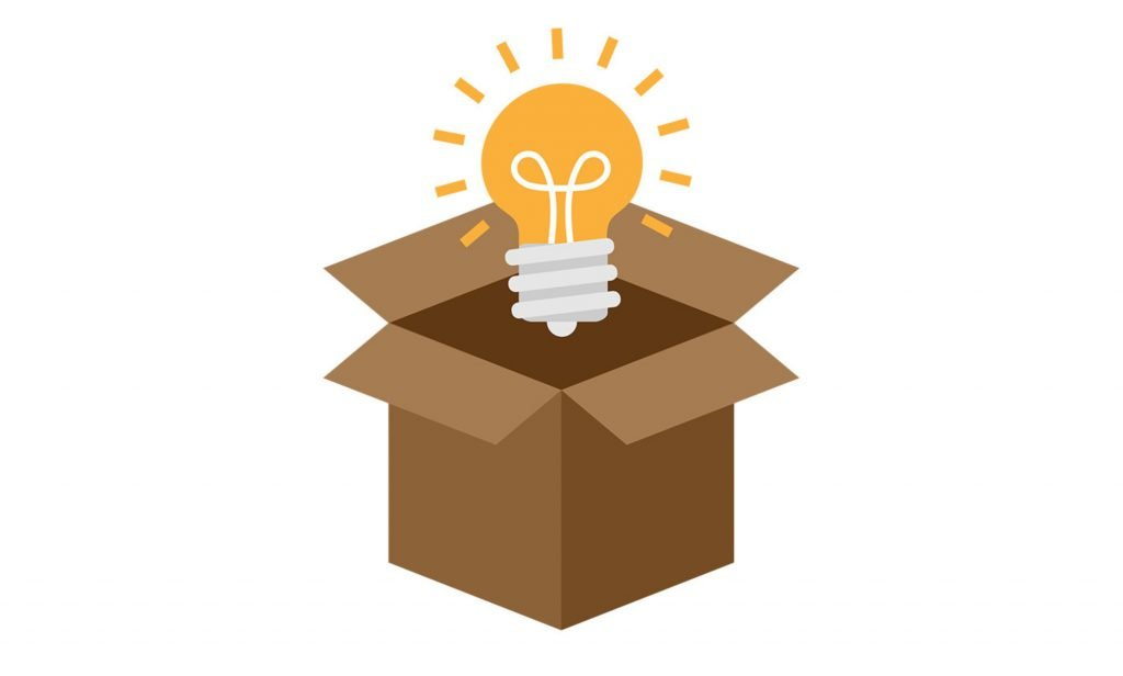 A box with a lightbulb coming out