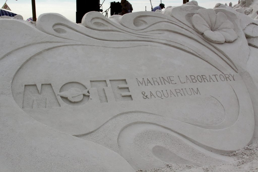 Sand sculpture made to look like Mote Marine logo
