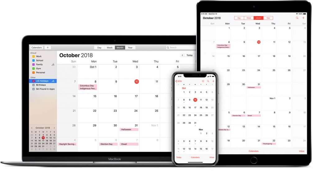 Image of calendars on iPhone iMac