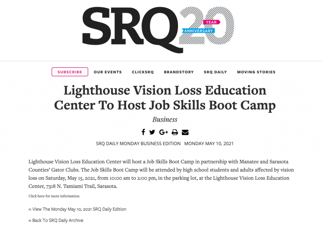 SRQ article for Job Sills Boot Camp