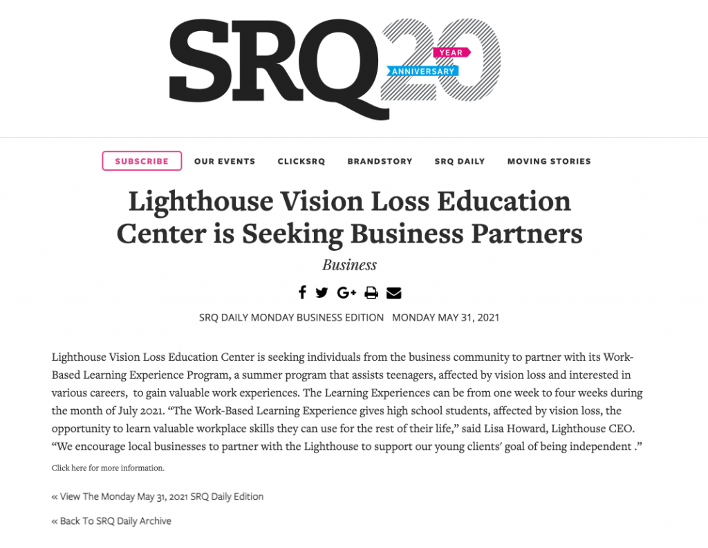 Article from SRQ Daily on May 31 2021 for Work-Based Learning Experiences