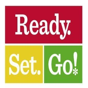 Red yellow and green rectangles with Ready Set Go