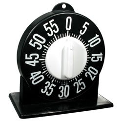 black kitchen timer with large white numbers