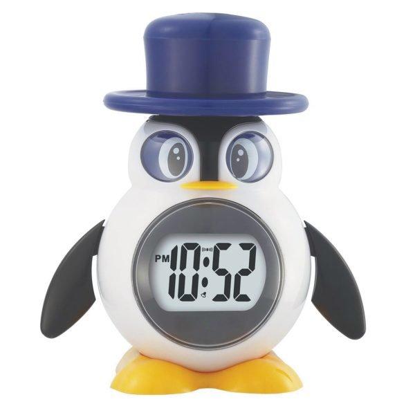 Talking clock shaped like a penguin in a top hat