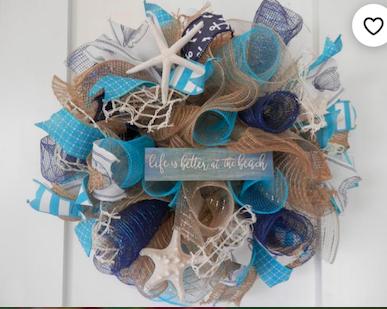 blue brown and white mesh wreath