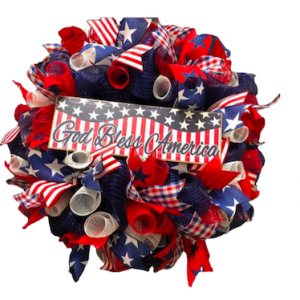 red white and blue independence day mesh wreath
