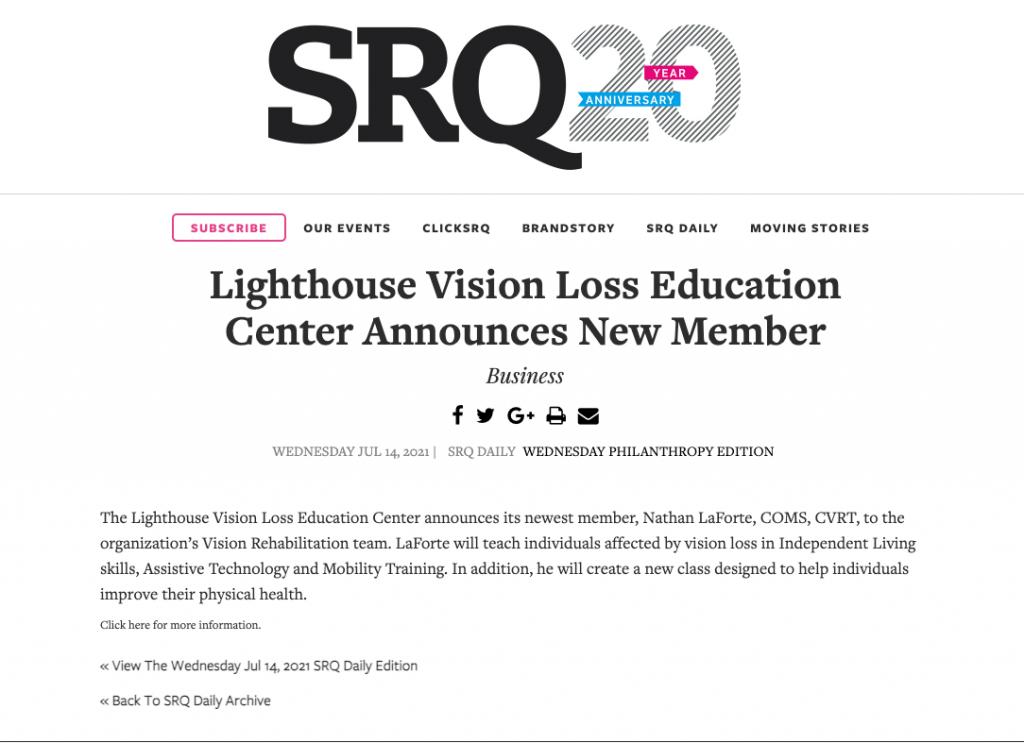 SRQ publish press release 07.14.2021