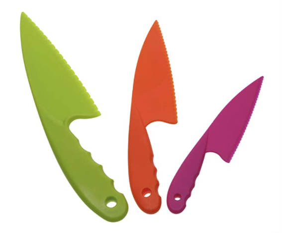 3 Piece Nylon Safety knife set in green, orange and fuschia