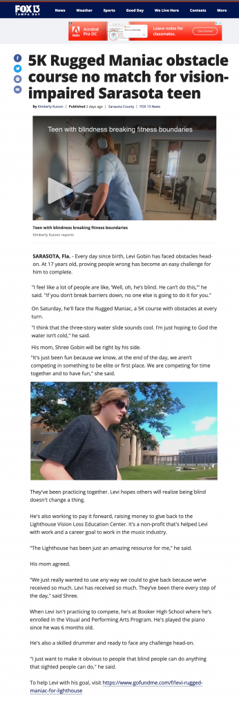 Levi's Story as featured on Fox 13's website